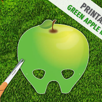 Green Apple Printable Party Mask | Fruit Mask | Party Play Props