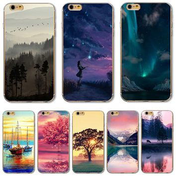 5C TPU Case Cover For Apple iPhone 5C Cases Phone Shell Girls Enjoy The Stars The Wild Geese Flying Painting