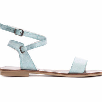 Summer Sandals, Women's Mint Leather Sandals with Ankle Strap, Roman Sandals