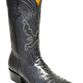 Gavel Handcrafted Men's Full Quill Ostrich R-Toe Cowboy Boots-Black