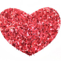 Red Sequins Heart Patch Applique with Sequins Heat Iron Transfer