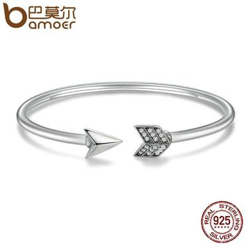 Genuine 925 Sterling Silver Cupid's Arrow Cuff Bracelets & Bangle for Women Luxury Authentic Silver Jewelry Gift SCB015