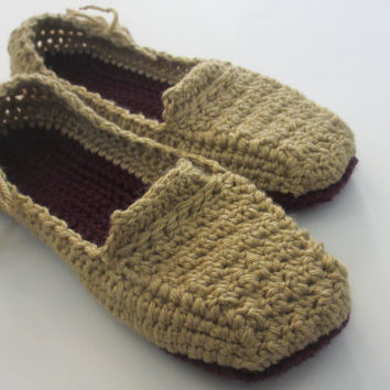 Women's Crochet Slippers - Lovely Lady Loafers - Custom sizes - 4 5 6 7 8 9 10 - Sand and Purple