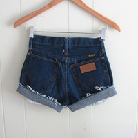 Vtg Dark Wash High Waisted Cut Off Denim Shorts Blue Jean Cuffed Wrangler 23""