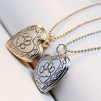 2017 New Christmas Gift Pet Cat Dog Paw Charm Pendant Box Photo Frame Locket Necklace Fashion Heart Jewelry (Can Drop Shipping)