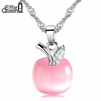 Effie Queen Apple Shaped Pendant Pi Cat's Eye Stone Women Fashion Pendant Necklace WN31