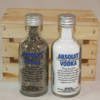 Absolut  Salt & Pepper Shakers, Upcycled Liquor Bottles