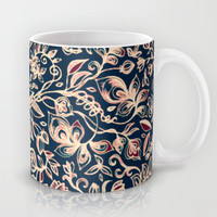 Navy Garden - floral doodle pattern in cream, dark red & blue Mug by Micklyn