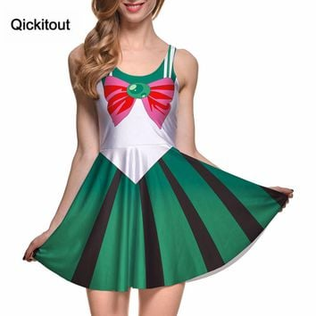 Qickitout Drop Shipping Women Summer Dress for Women Vestidos Casual Woman Costume 10 Color Sailor Moon Style Cosplay Costume