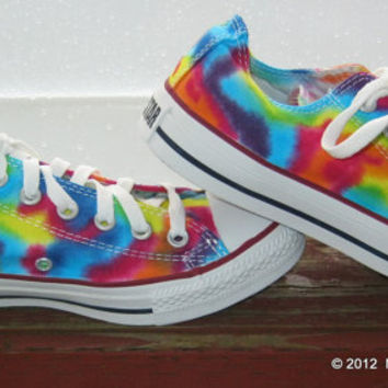 Made to Order ... Tie-Dye Converse Shoes  Women size  Lo Top