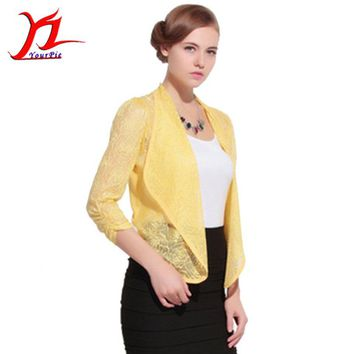 Summer Women Cardigan Outwear Air Conditioning Hollow Out Turn-down Collar High Quality Irregular Embroidered Fashion