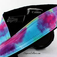 dSLR Rainbow Tie Dye Camera Strap, Hand dyed, One of a Kind, OOAK, SLR, T2