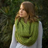 Lime Green Infinity Scarf, Pea Green Chunky Scarf, Women's Accessories