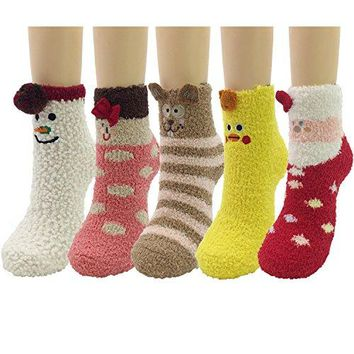 Fuzzy Socks  5 Pack Warm Sleeping Winter Crew Fuzzy Sock Women Girls 3D Cute Animals Super Soft Cozy Home Slipper Socks