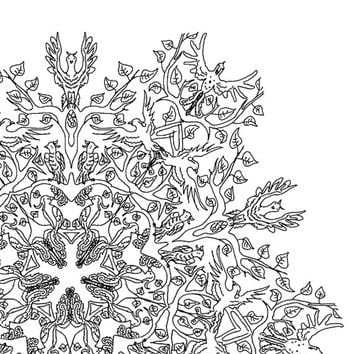Digital Download Colouring Page, Adult Coloring, birds,line drawing,Mandala,Adult Colouring Page,Printable Digital Illustration,Line Art