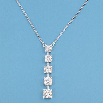 Sterling Silver Multi CZ Drop Pendant Necklace