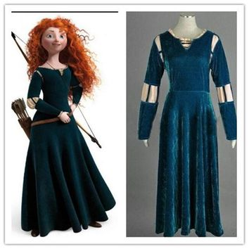 MDIGHY9 disfraz brave merida costume adult for girls princess brave dress adult halloween costumes for women princess party kids green