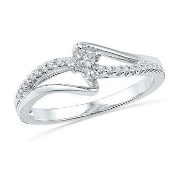 10kt White Gold Women's Round Diamond Solitaire Promise Bridal Ring 1/6 Cttw - FREE Shipping (US/CAN)