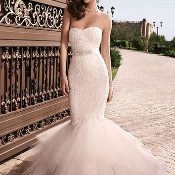 Casablanca Bridal 2129 Strapless Lace Fit & Flare Wedding Dress