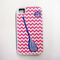 Cell Phone Case Personalized iPhone 4, 4S or 5 Hard Or Tough, iPod Touch 4 Or 5 Case, Pink Chevron With Blue Monogram and Lacrosse Stick