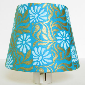 50% OFF Clearance Sale - Turquoise Night Light - White Art Deco Flowers with Mint Green and Gold - Master Bedroom Decor - Ready to Ship