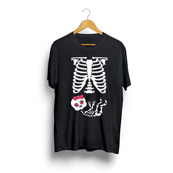 Skeleton Baby Girl Pregnancy T shirt Pregnancy Shirt Baby Shower Cute T shirt Halloween T shirt Mother Maternity Birthday Gift Funny T shirt