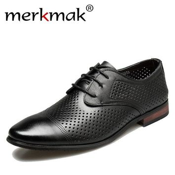 Merkmak Summer Men Dress Shoes Breathable Hollow Out Formal Genuine Leather Oxfords Flats Luxury Casual Business Wedding Shoes