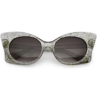 Women's Oversize Butterfly Glitter Cat Eye Sunglasses C553