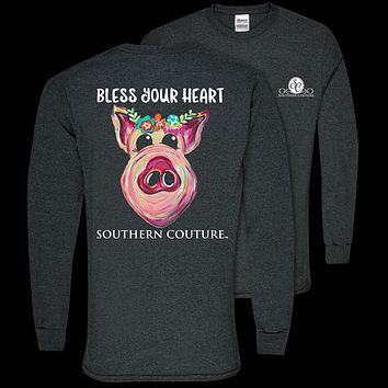 Southern Couture Classic Bless Your Heart Pig Long Sleeve T-Shirt