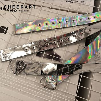 Cheerart Holographic Punk Rock Belts For Women Silver Laser Leather Belt Buckles Street Fashion Style Waist Belts