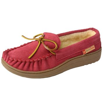 alpine swiss Sabine Womens Suede Shearling Slip On Moccasin Slippers Red 7 B(M) US