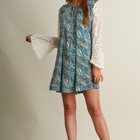Umgee Paisley Swing Dress Lace Bell Sleeves