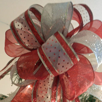Large Christmas Tree topper bow white ribbon with  red dots and silver and red  glitter stripes, silver glitter ribbon and glimmering red