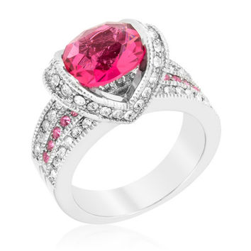 Garett Vintage Pink Oval Cut Engagement Ring | 2.8ct | Cubic Zirconia