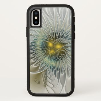 Golden Silver Flower abstract Fractal Art Monogram iPhone X Case