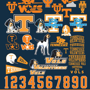 Tennessee Volunteers Logos, Numbers. SVG, dxf, eps, PDF, Vector Digital cut files for Silhouette Studio, Cricut Design Space Cutting SVG-32