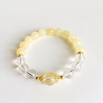 Brain Boost ~ Citrine, Crystal Quartz & Yellow Calcite Bracelet