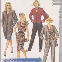 Sewing pattern for loose fitting jacket, pleated pants, straight skirt, and button front top misses size 18 20 McCalls 4976 UNCUT