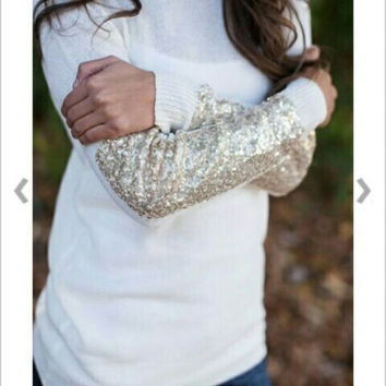 White Cotton Sequin long sleeve sweater