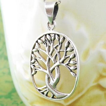 Oval Braided Tree of Life Necklace with Leaf Border