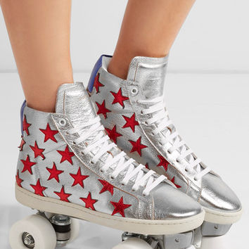 Saint Laurent - Appliquéd metallic textured-leather roller skates
