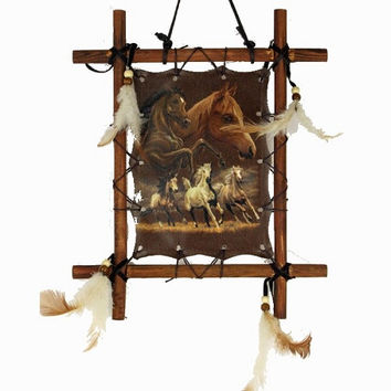 Wood Frame Dream Catcher Wild Horses Wall Hanging with Feathers