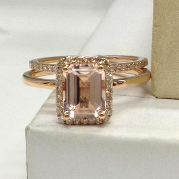 Morganite Wedding Ring Set!Diamond Engagement Ring 14K Rose Gold,6x8mm Emerald Cut Pink Morganite Gemstone,Stacking Matching Band,eternity