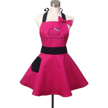 HOT PINK CUTE HELLO KITTY KITCHEN APRON FOR WOMAN AVENTAL DE COZINHA DIVERTIDO TABLIER CUISINE PINAFORE APRON VINTAGE ONE SIZE