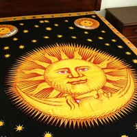 """Hippie/Indian Tapestry/Wall/Bedspread/Tablecloth Sun God 72"""" x 108""""CPS SG"""