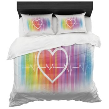 Gay Pride Rainbow Heartbeat Duvet Cover And 2 Standard Pillow Shams King And Queen Sizes Microfiber Fabric