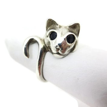 Sterling Cat Ring - Kabana, Wrap, Silver, Blue Spinel Eyes, Statement Ring, Pinkie Ring