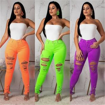 SKMY neon skinny ripped high waist jeans womens clothing summer 2019 ripped pants ladies streetwear destroyed pencil hole jeans