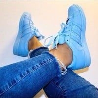 CREY9N Adidas' Fashion Shell-toe Flats Sneakers Sport Shoes Pure color Blue