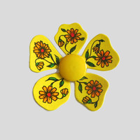 Yellow Flower Brooch, Plastic with Colorful Flowers on Petals, West Germany, Post War, Boho, Hippie, Fun!